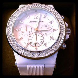 New Michael Kors white ceramic crystal watch